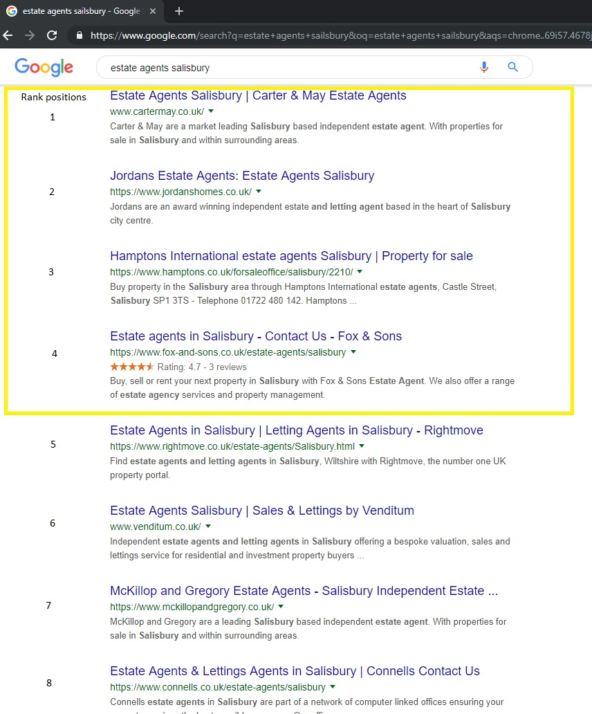 seo rank positions - estate agents search