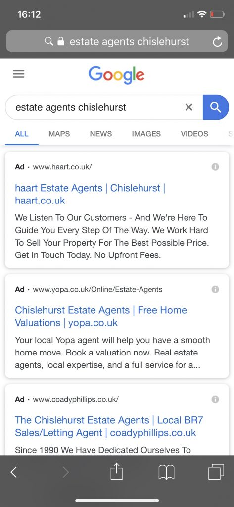 mobile search ad results 2019 for estate agents